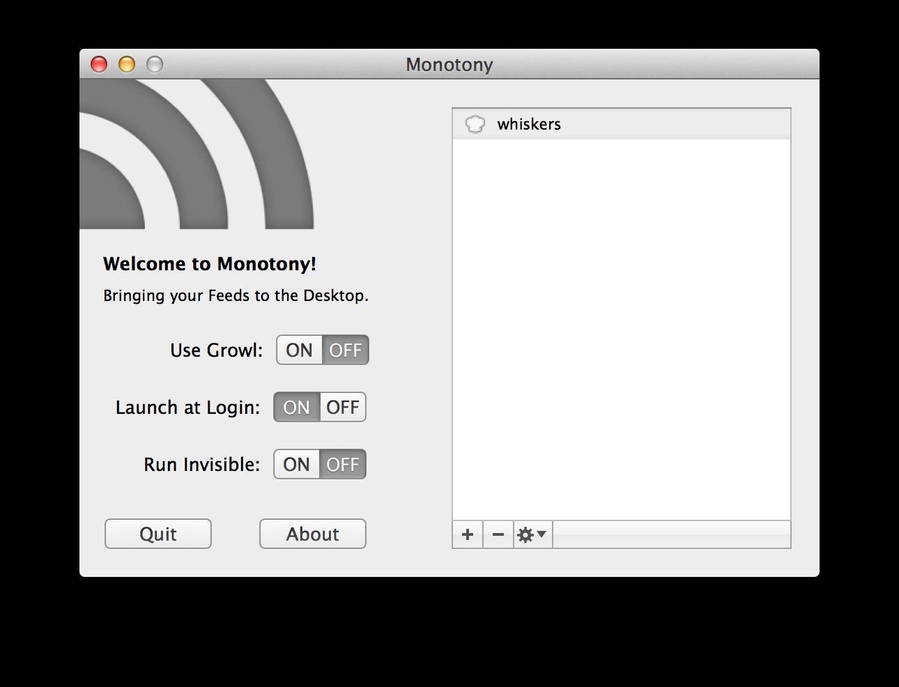 Monotony設定画面
